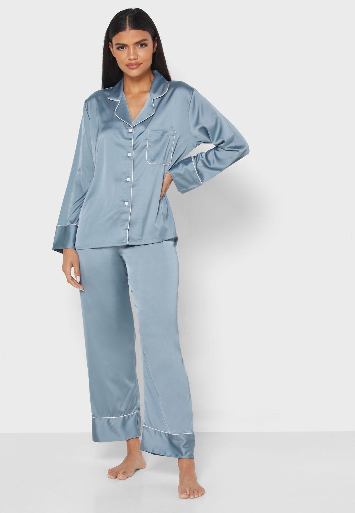 Contrast Piping Shirt Pyjama Set