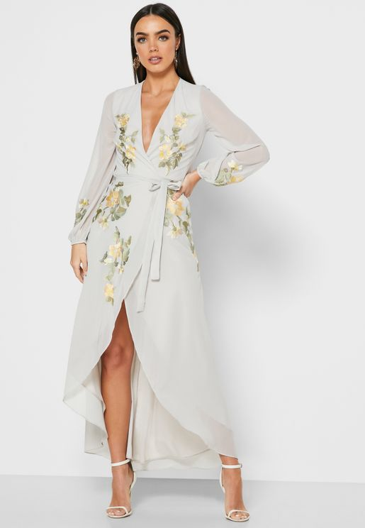 Asymmetric Embroidered Wrap Dress