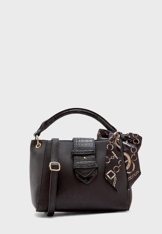 Back Zip Scarf Detail Shoulder Bag