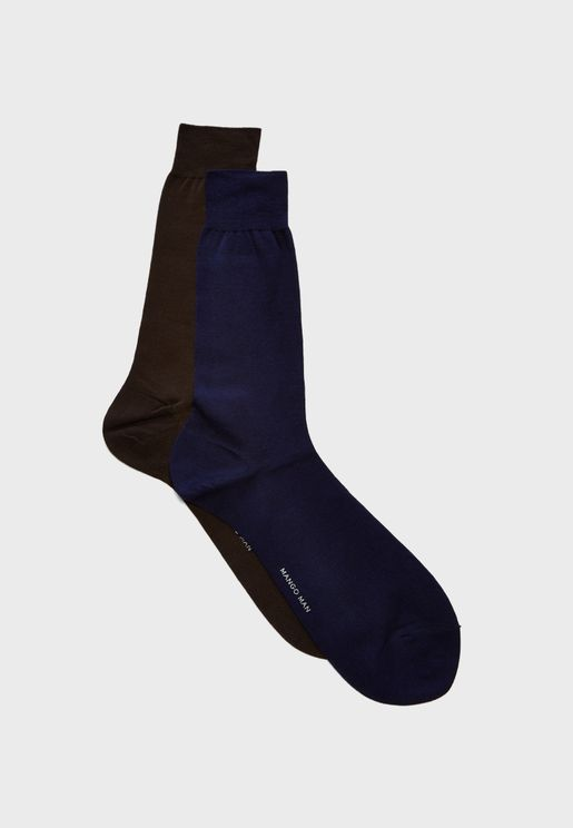 2 Pack Plain Socks