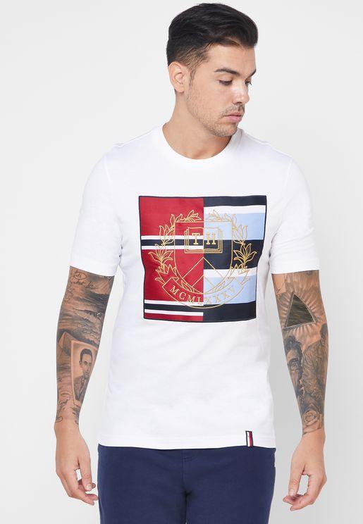 Mixed Crest  Crew Neck T-Shirt