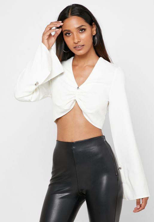 Front Ruched Split Sleeve Crop Top