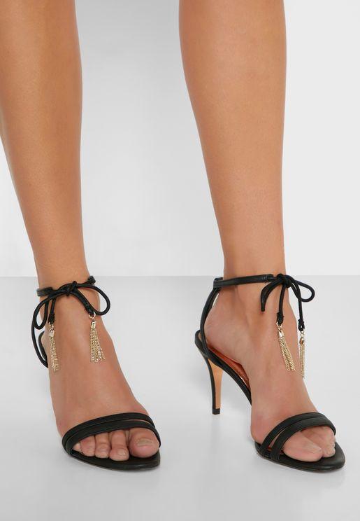 Jelissa Tassle Tie Mid Heel Sandal
