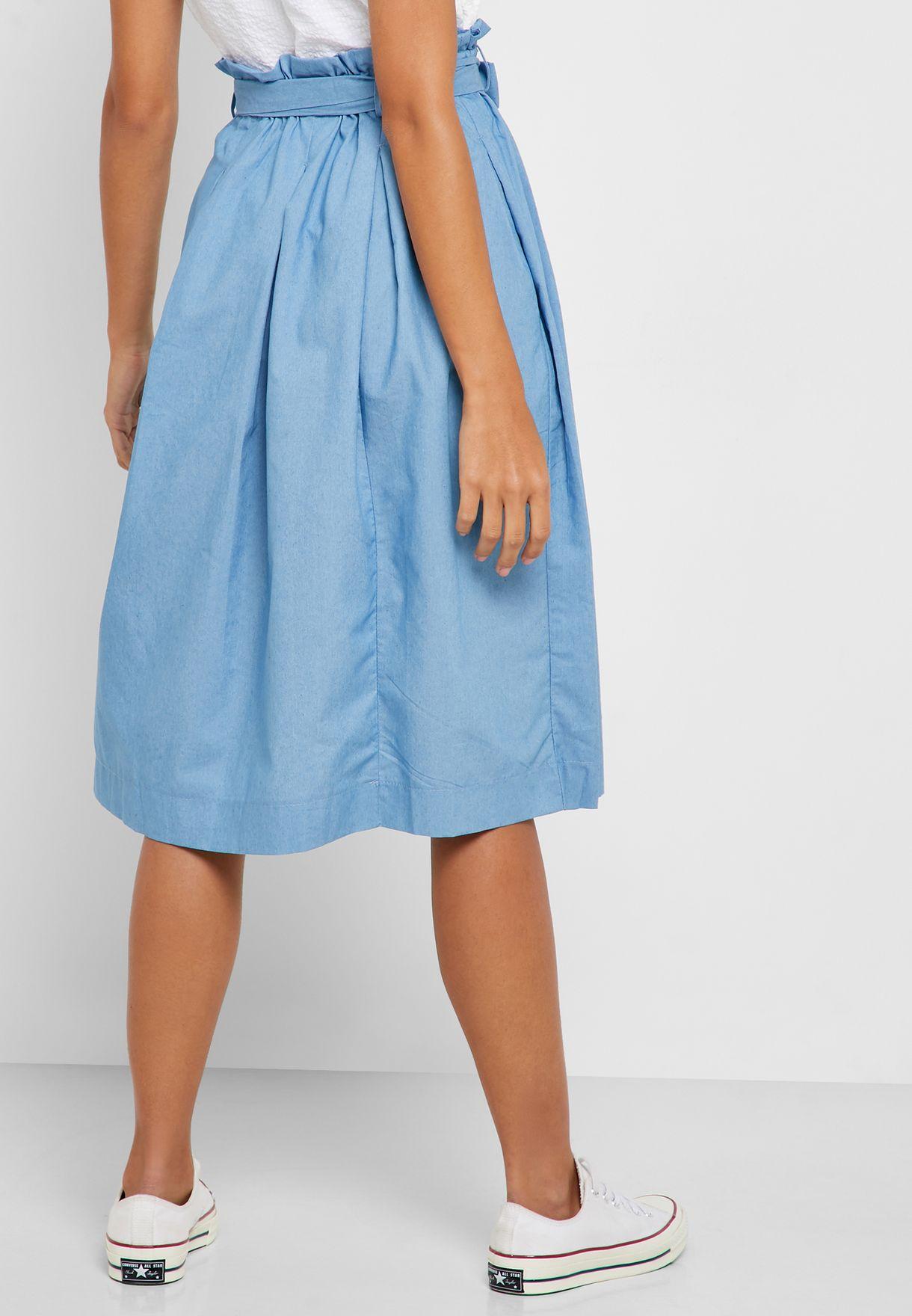 Paperbag Waist Midi Skirt