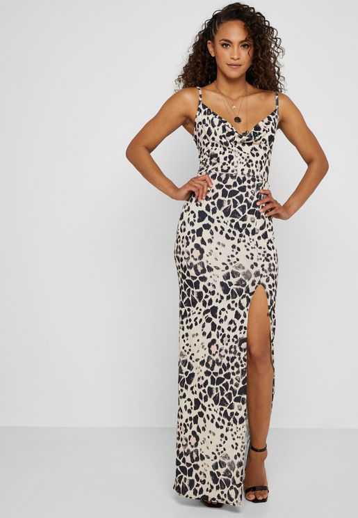 Side Split Leopard Print Maxi Dress