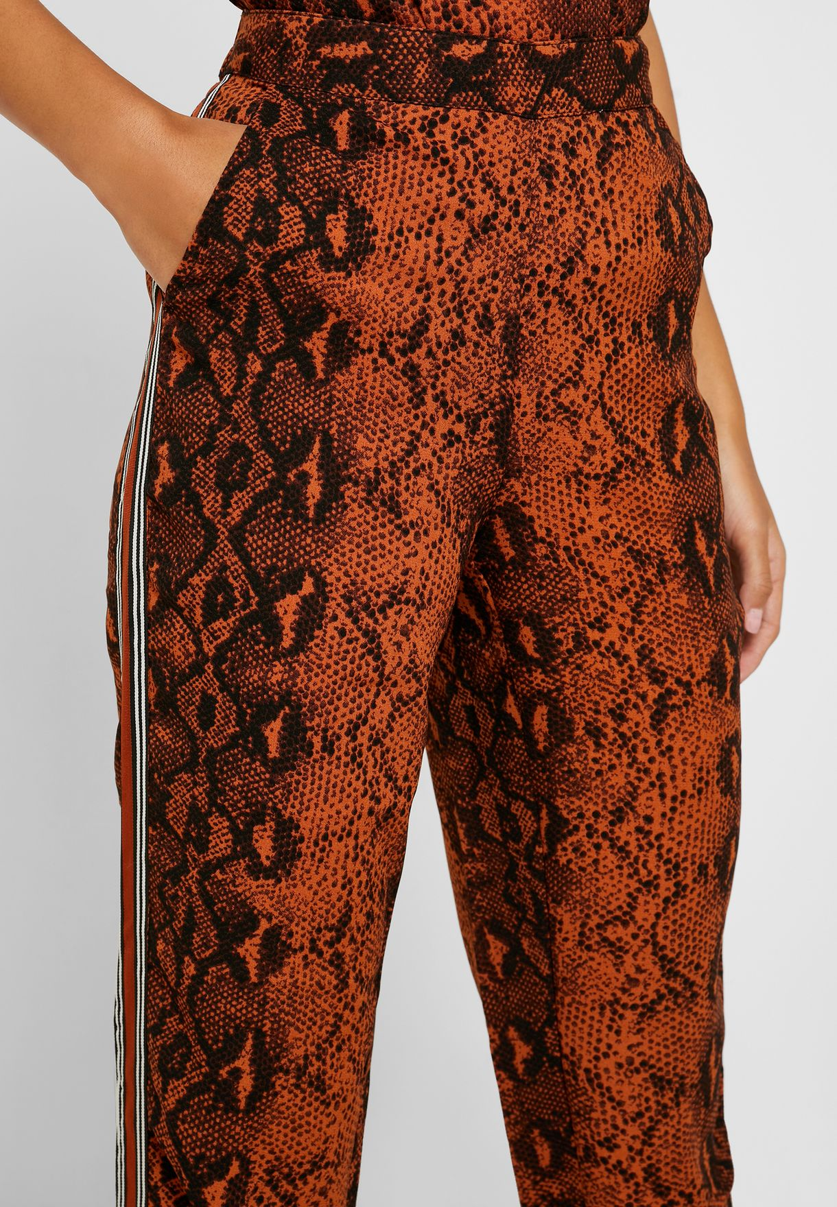 Side Tape Snake Print Pants