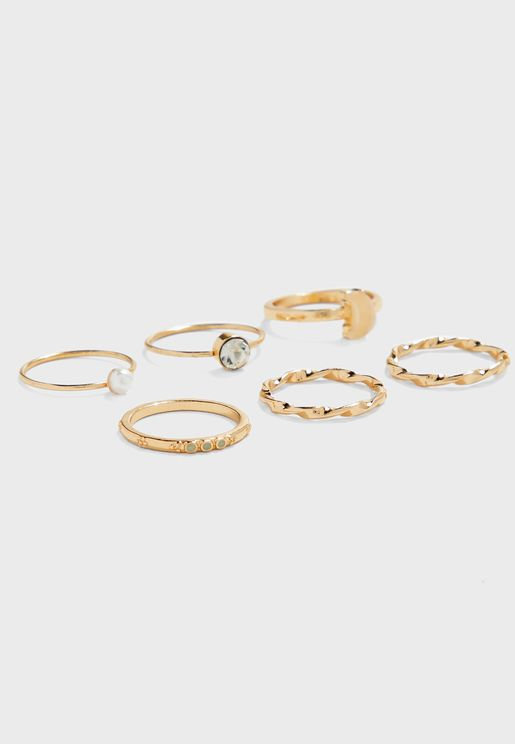 Pearl and Moon  Rings Multipack