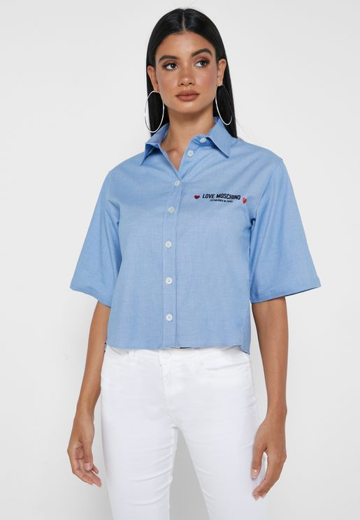 Wide Sleeve Logo Shirt