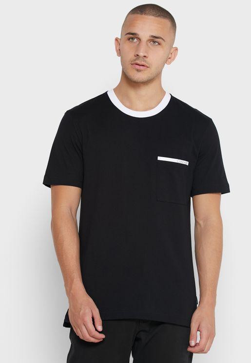 Contrast Collar Crew Neck T-Shirt
