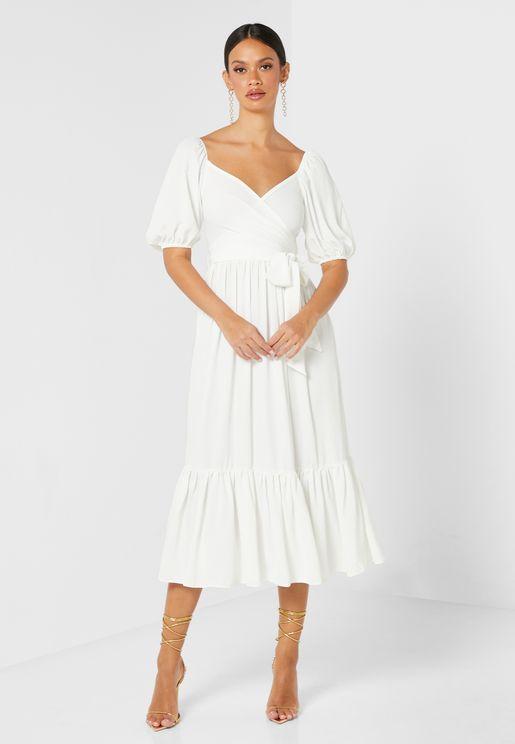 Puff Sleeve Wrap Midaxi Dress