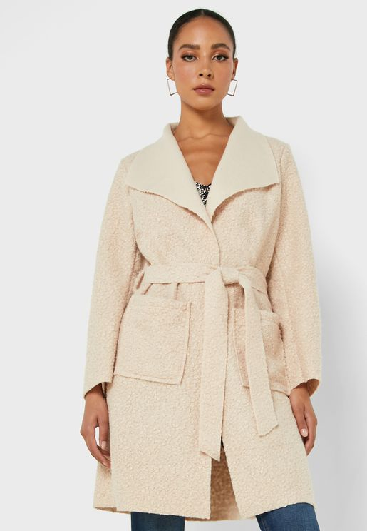 Longline Boucle Waterfall Coat