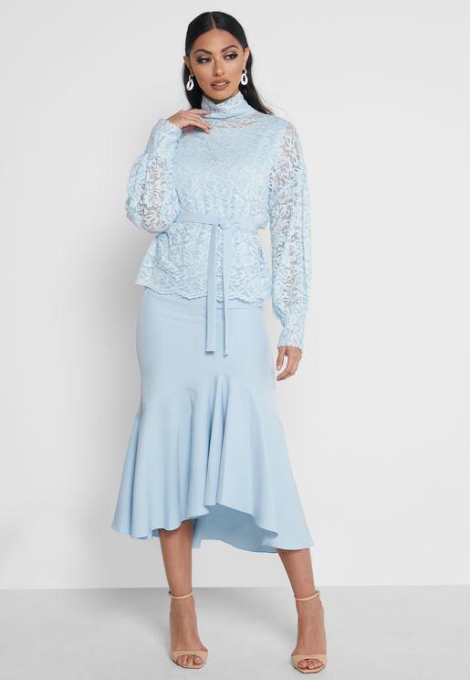 Lace Overlay Ruffle Dress