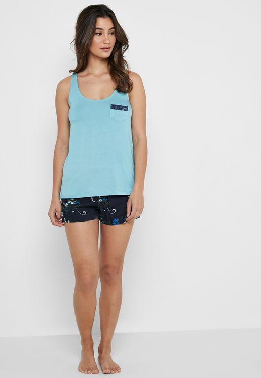 Tank Top & Printed Shorts Pyjama Set