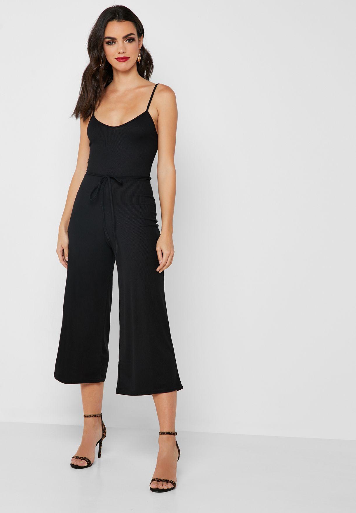 bd36ab8618a Shop Missguided black Tie Waist Mesh Culottes Jumpsuit M9903960 for ...