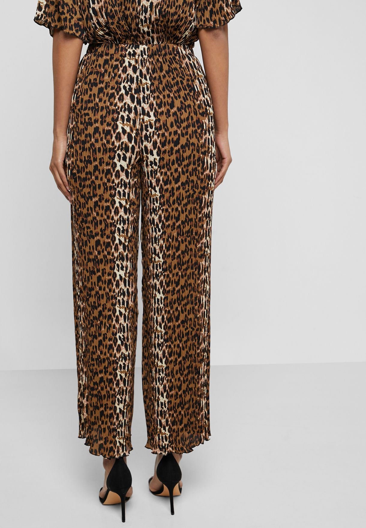 Leopard Print Plisse Pants Co Ord