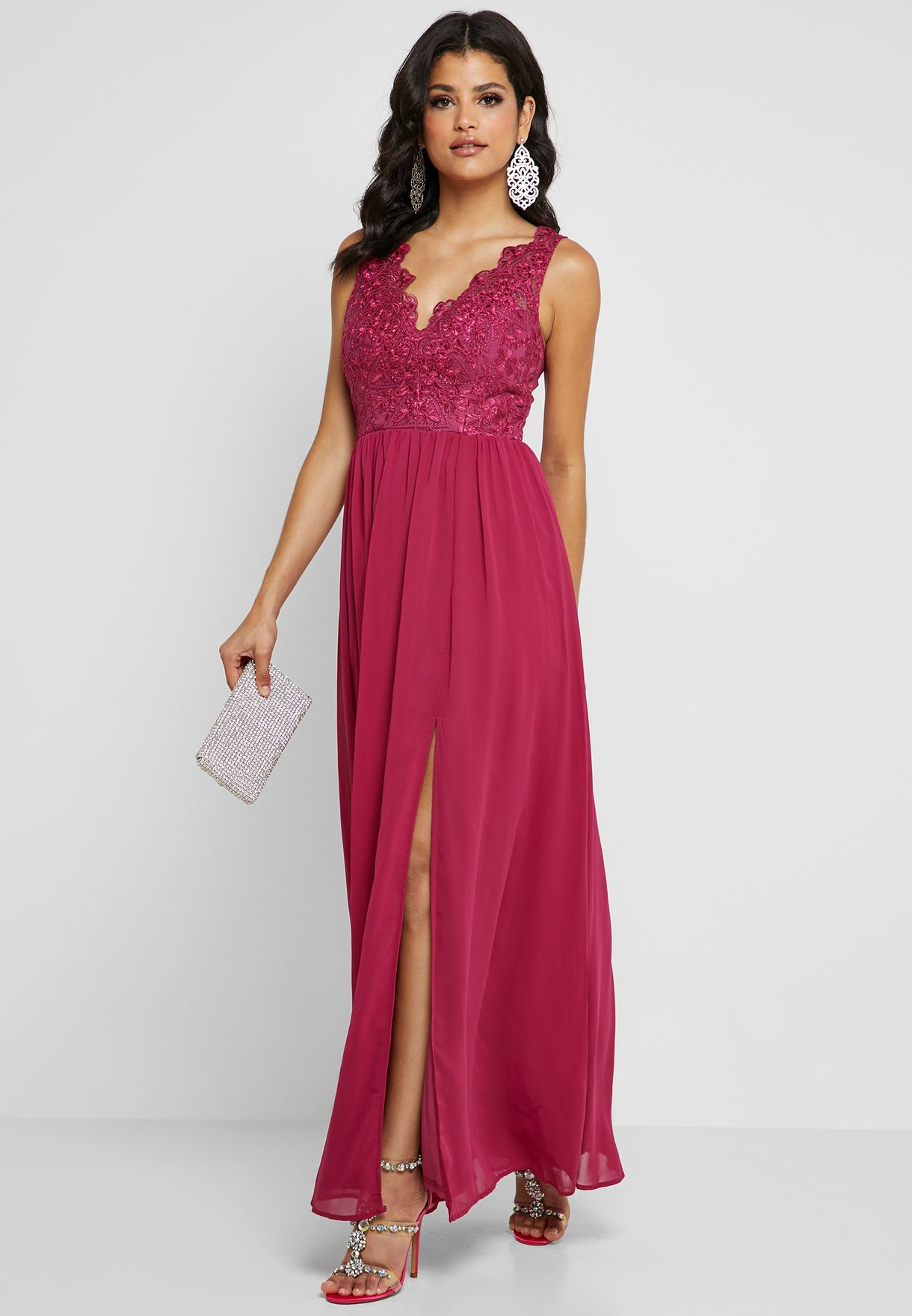 Scallop Lace Front Slit Dress