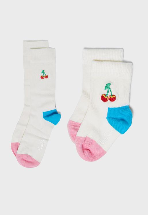 2 Pack Mini Me Cherry Socks