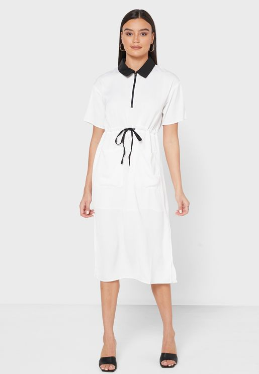 Contrast Collar Drawstring Shirt Midi Dress