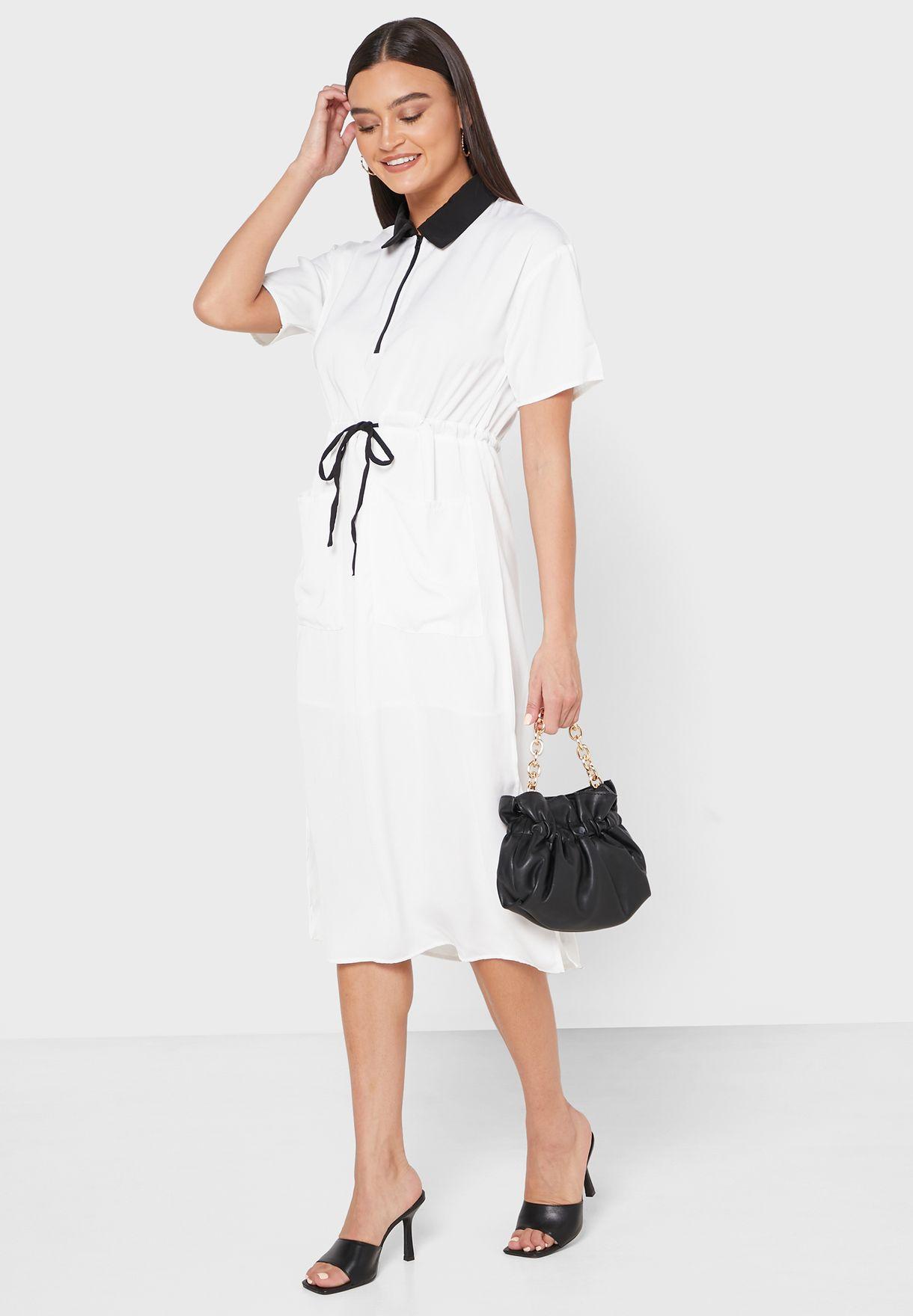 Contrast Collar Drawstring Shirt Midi Dress