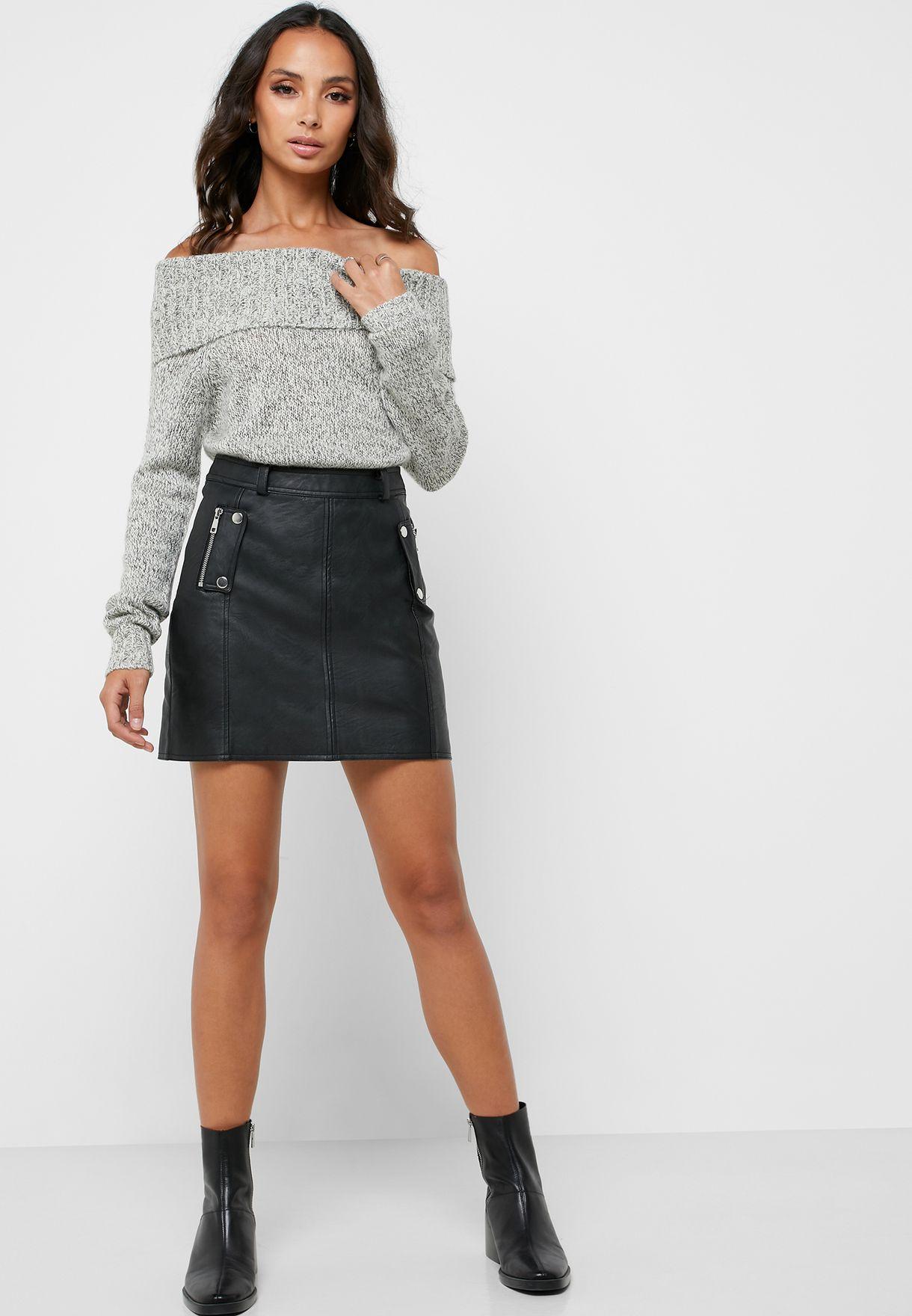 Ribbed Hem Bardot Sweater