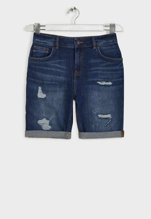Kids Mid Wash Denim Shorts