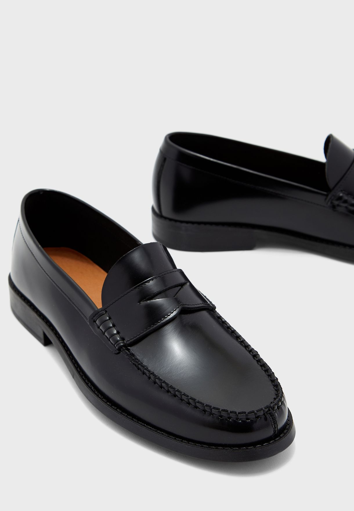 Buy Mango Man black Penny Loafers for