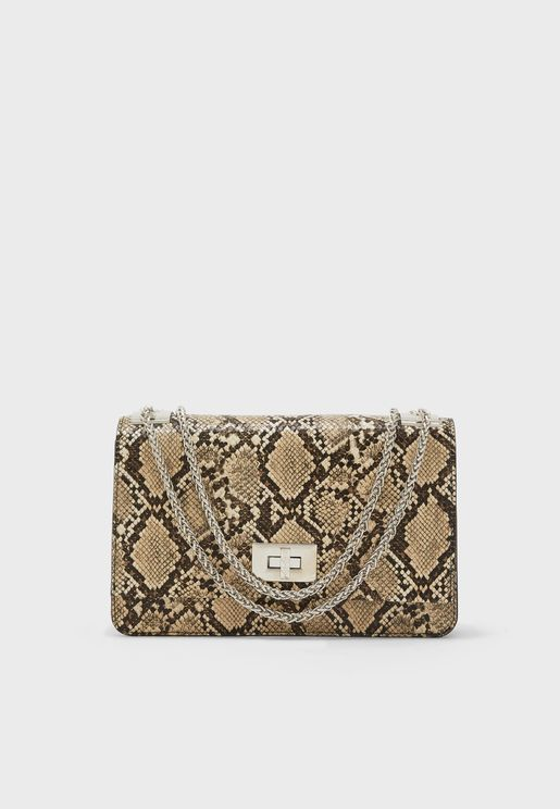 Cindy Python Effect Flap Over Crossbody