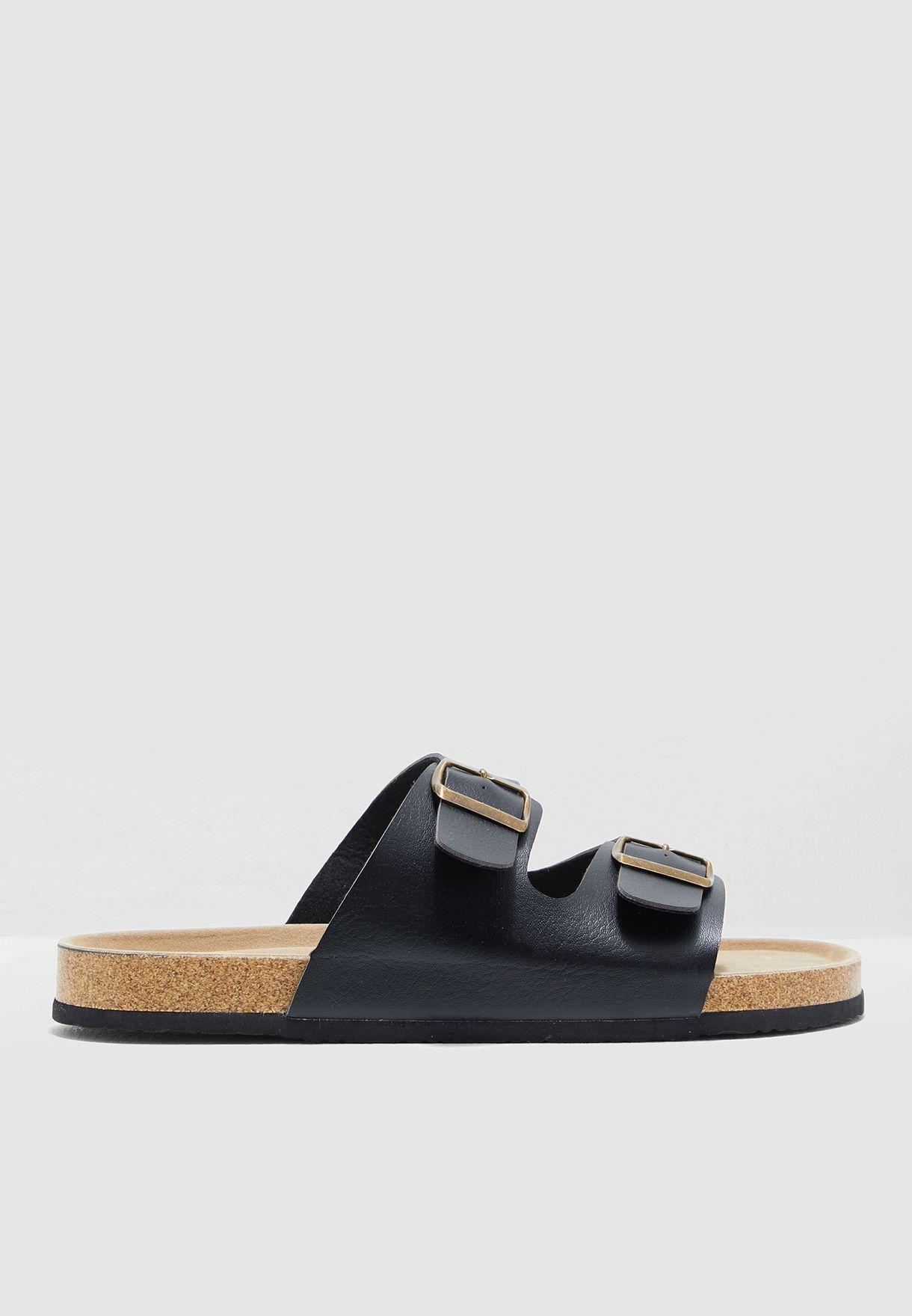4de595d2c9cd0 Shop Robert wood black Two Strap Sandals YD201 for Men in Kuwait ...