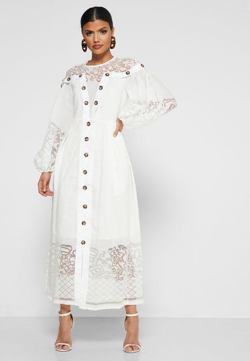 Burnout Neck With Button Front Dress