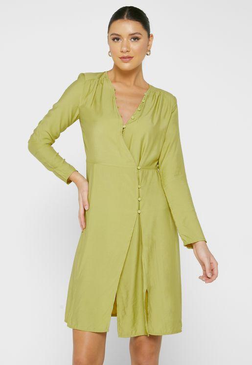 فستان قصير بنمط لف