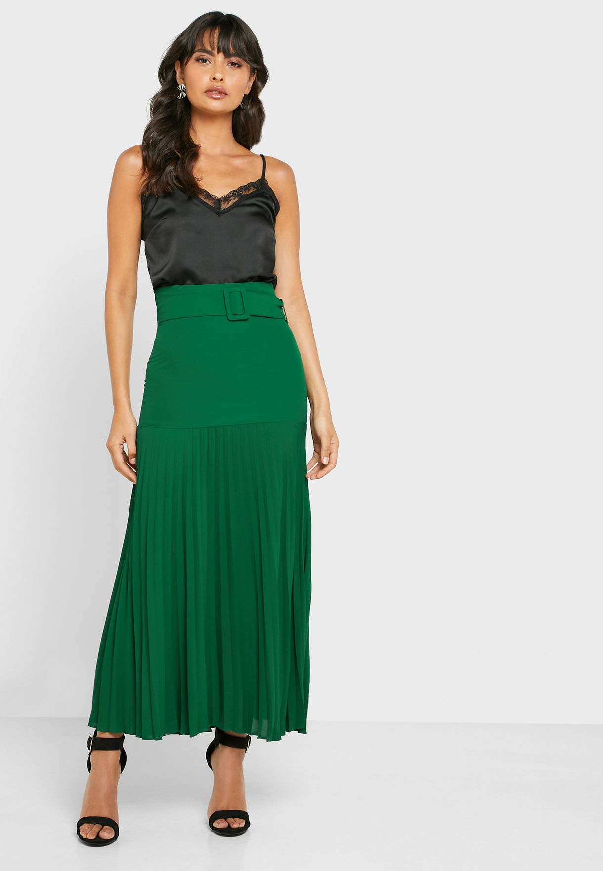 Pleated Belted Midi Skirt
