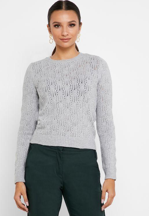 Openwork Crew Neck Sweater