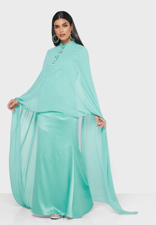 High Neck Drape Dress