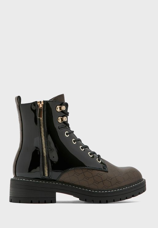 Monogram Lace Up Chunky Boot
