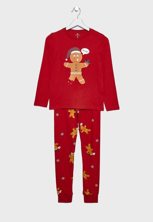 Christmas Gingerbread Men Kids Pyjama Set