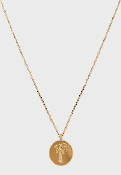 Vacay Palm Tree Disc Necklace