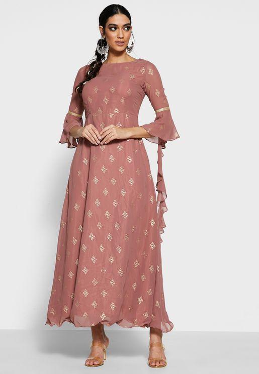 Rose Pink Cascade Sleeve Maxi Tunic