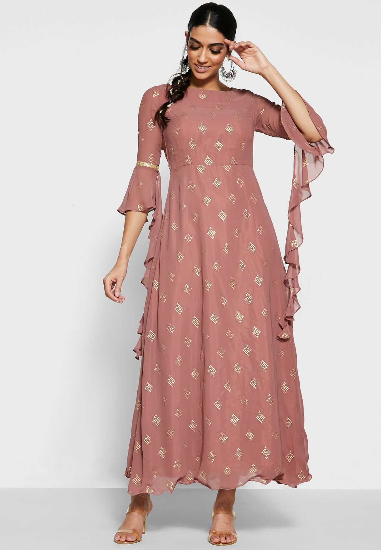 Rose Pink Cascade Sleeve Maxi Tunic