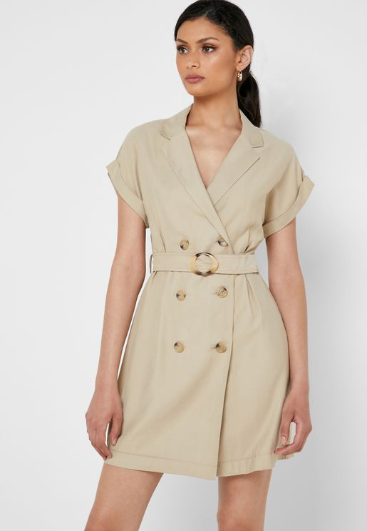 Double Breasted Belted Dress