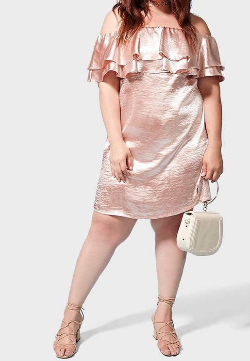 Metallic Bardot Dress