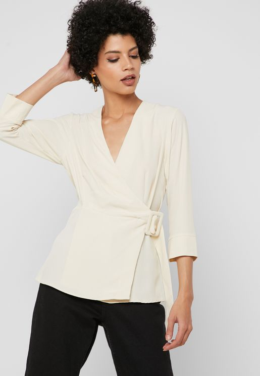 9e61e50162d Belted Buckle Detail Wrap Top