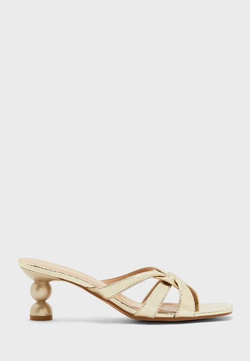 Cross Strap Low Heel Sandal