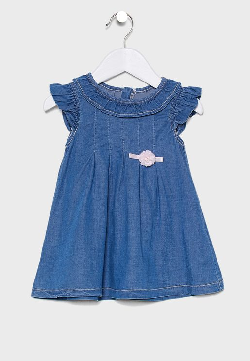 Infant Puff Detail Denim Dress