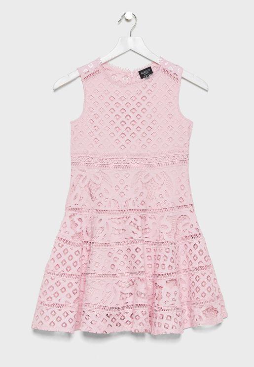 Kids Lace Layered Dress