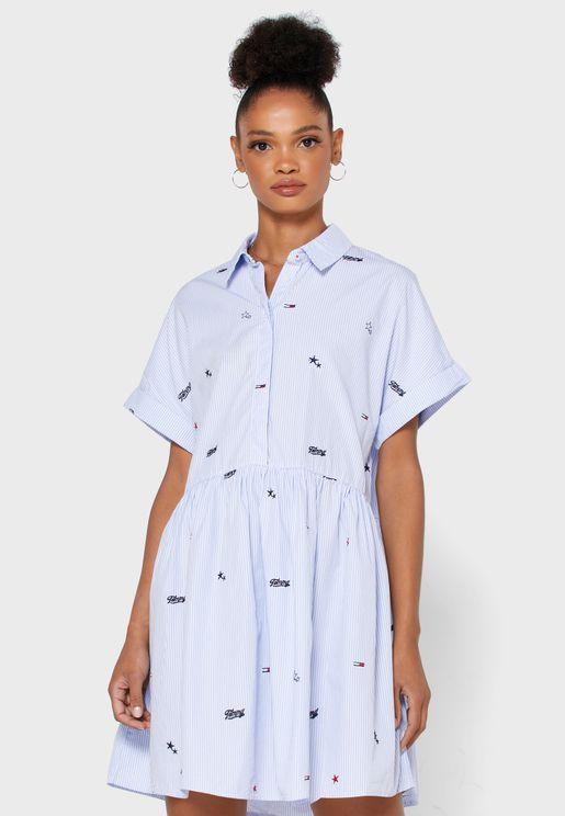فستان مخطط بطبعات
