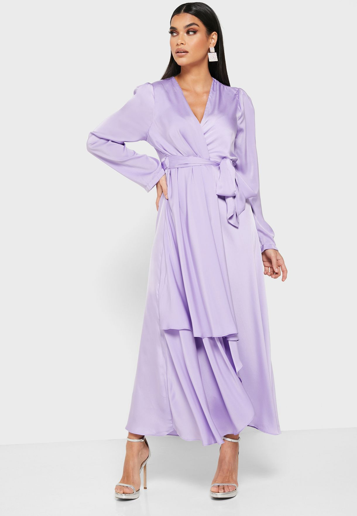 Wrap Front Layered Midi Dress