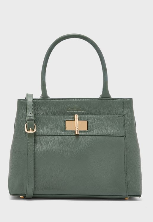Leather Top Handle Satchel With Clasp Detail