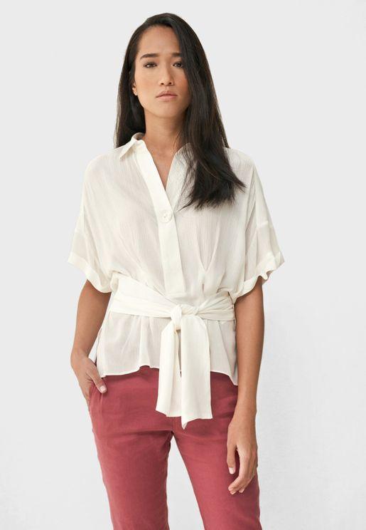 قميص بأربطة خصر واكتاف منسدلة