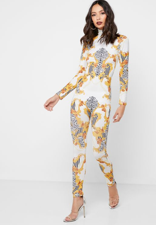 Printed High Neck Jumpsuit