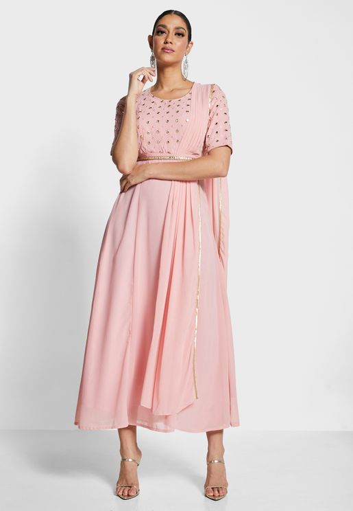 Mirror Belted Maxi Tunic With Attached Dupatta